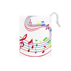 Rainbow Red Green Yellow Music Tones Notes Rhythms Drawstring Pouches (small)  by AnjaniArt