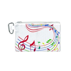 Rainbow Red Green Yellow Music Tones Notes Rhythms Canvas Cosmetic Bag (s) by AnjaniArt