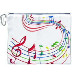 Rainbow Red Green Yellow Music Tones Notes Rhythms Canvas Cosmetic Bag (xxxl) by AnjaniArt