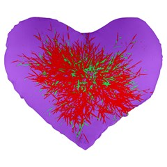 Spot Paint Red Green Purple Sexy Large 19  Premium Flano Heart Shape Cushions by AnjaniArt