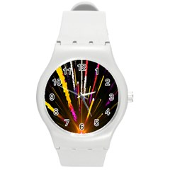 Seamless Colorful Light Fireworks Sky Black Ultra Round Plastic Sport Watch (m) by AnjaniArt