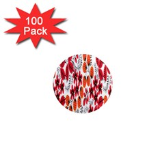 Rose Flower Red Orange 1  Mini Magnets (100 Pack)  by AnjaniArt