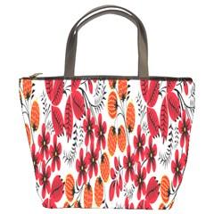 Rose Flower Red Orange Bucket Bags by AnjaniArt
