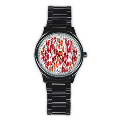 Rose Flower Red Orange Stainless Steel Round Watch by AnjaniArt