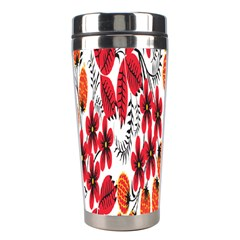 Rose Flower Red Orange Stainless Steel Travel Tumblers by AnjaniArt
