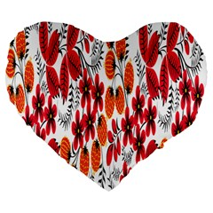Rose Flower Red Orange Large 19  Premium Flano Heart Shape Cushions by AnjaniArt