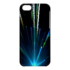 Seamless Colorful Blue Light Fireworks Sky Black Ultra Apple Iphone 5c Hardshell Case by AnjaniArt