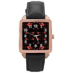 Roses From The Fantasy Garden Rose Gold Leather Watch  by pepitasart
