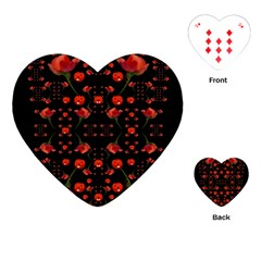 Pumkins And Roses From The Fantasy Garden Playing Cards (heart)  by pepitasart