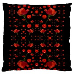 Pumkins And Roses From The Fantasy Garden Large Flano Cushion Case (one Side) by pepitasart