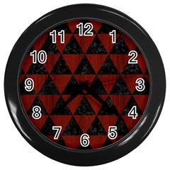 Triangle3 Black Marble & Reddish Brown Wood Wall Clocks (black) by trendistuff