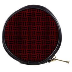 Woven1 Black Marble & Reddish Brown Wood Mini Makeup Bags by trendistuff