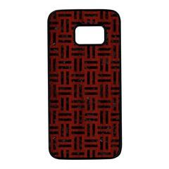 Woven1 Black Marble & Reddish Brown Wood Samsung Galaxy S7 Black Seamless Case