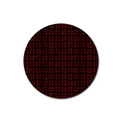 Woven1 Black Marble & Reddish Brown Wood (r) Rubber Round Coaster (4 Pack)  by trendistuff