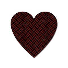 Woven2 Black Marble & Reddish Brown Wood (r) Heart Magnet by trendistuff