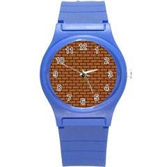 Brick1 Black Marble & Rusted Metal Round Plastic Sport Watch (s) by trendistuff