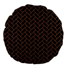 Brick2 Black Marble & Rusted Metal (r) Large 18  Premium Flano Round Cushions by trendistuff