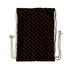 Brick2 Black Marble & Rusted Metal (r) Drawstring Bag (small) by trendistuff
