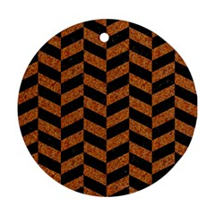Chevron1 Black Marble & Rusted Metal Round Ornament (two Sides) by trendistuff