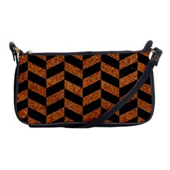 Chevron1 Black Marble & Rusted Metal Shoulder Clutch Bags by trendistuff