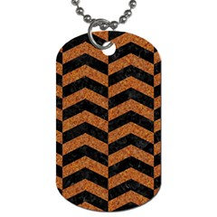 Chevron2 Black Marble & Rusted Metal Dog Tag (one Side) by trendistuff