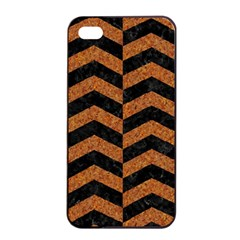 Chevron2 Black Marble & Rusted Metal Apple Iphone 4/4s Seamless Case (black) by trendistuff