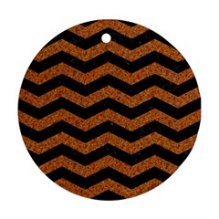 Chevron3 Black Marble & Rusted Metal Ornament (round) by trendistuff
