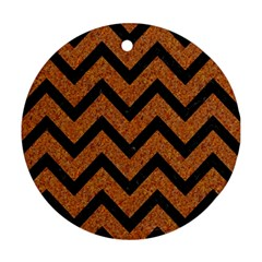 Chevron9 Black Marble & Rusted Metal Ornament (round) by trendistuff