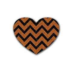 Chevron9 Black Marble & Rusted Metal Heart Coaster (4 Pack)  by trendistuff