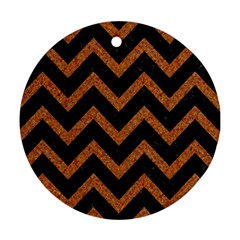 Chevron9 Black Marble & Rusted Metal (r) Ornament (round) by trendistuff