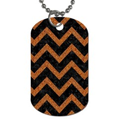 Chevron9 Black Marble & Rusted Metal (r) Dog Tag (one Side) by trendistuff