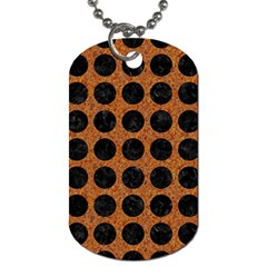 Circles1 Black Marble & Rusted Metal Dog Tag (one Side) by trendistuff