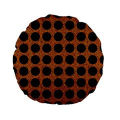 Circles1 Black Marble & Rusted Metal Standard 15  Premium Flano Round Cushions by trendistuff