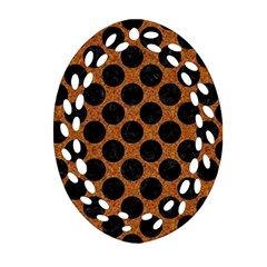 Circles2 Black Marble & Rusted Metal Oval Filigree Ornament (two Sides) by trendistuff