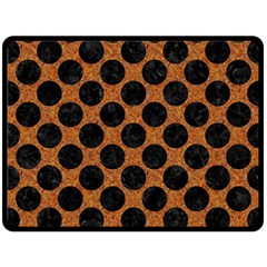 Circles2 Black Marble & Rusted Metal Double Sided Fleece Blanket (large)  by trendistuff