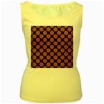 CIRCLES2 BLACK MARBLE & RUSTED METAL (R) Women s Yellow Tank Top