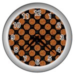 CIRCLES2 BLACK MARBLE & RUSTED METAL (R) Wall Clocks (Silver)