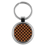 CIRCLES2 BLACK MARBLE & RUSTED METAL (R) Key Chains (Round)
