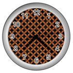 CIRCLES3 BLACK MARBLE & RUSTED METAL (R) Wall Clocks (Silver)