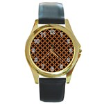CIRCLES3 BLACK MARBLE & RUSTED METAL (R) Round Gold Metal Watch