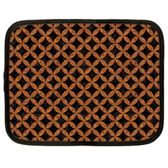 Circles3 Black Marble & Rusted Metal (r) Netbook Case (large) by trendistuff