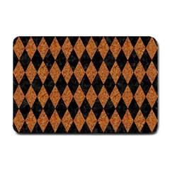 Diamond1 Black Marble & Rusted Metal Small Doormat  by trendistuff