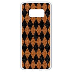 Diamond1 Black Marble & Rusted Metal Samsung Galaxy S8 White Seamless Case by trendistuff