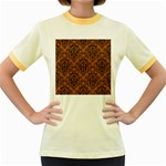 DAMASK1 BLACK MARBLE & RUSTED METAL Women s Fitted Ringer T-Shirts