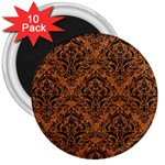 DAMASK1 BLACK MARBLE & RUSTED METAL 3  Magnets (10 pack)