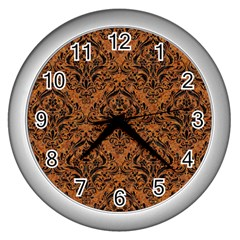 Damask1 Black Marble & Rusted Metal Wall Clocks (silver)  by trendistuff