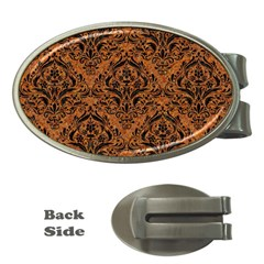Damask1 Black Marble & Rusted Metal Money Clips (oval)  by trendistuff