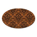 DAMASK1 BLACK MARBLE & RUSTED METAL Oval Magnet