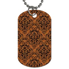 Damask1 Black Marble & Rusted Metal Dog Tag (one Side) by trendistuff