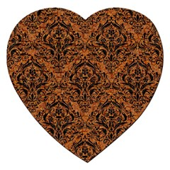 Damask1 Black Marble & Rusted Metal Jigsaw Puzzle (heart) by trendistuff